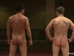 Two handsome gays wrestle and bang on tatami and enjoy it