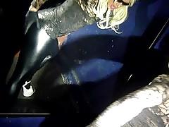 blonde crossdresser wetlook leggings solo