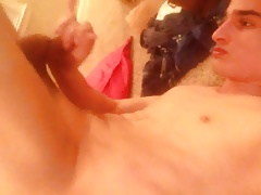 Cute twink gives himself a facial