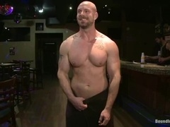 Bald poofter gets his ass and mouth drilled in group BDSM clip