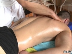 Tattooed gay hunk gives massage to his BF and rips his butt apart