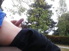 Cum in a public park
