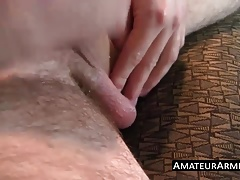 Hairy cock sucker loves sniffing his hairy armpits solo