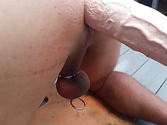 Wifey pounds hubby's ass with machine