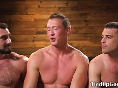 BDSM trio whip subs cock before anal fingering