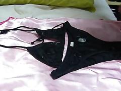 Cum on bikini lycra black