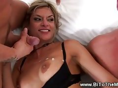 This slut gets the business from two horny guys at the same time
