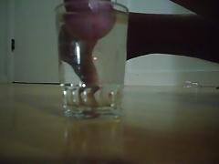 Cumshot in glass of water