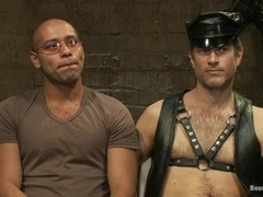 Handsome gay Leo Forte gets whipped, tortured and fucked by Master Avery