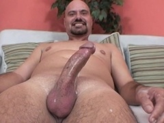 Bald gay daddy jerks his dick off till it explodes with sperm
