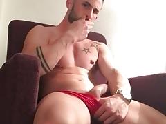 Huge cock, muscle body, red panties