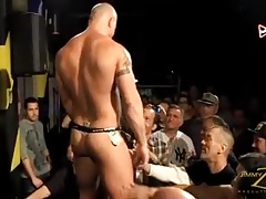 Muscle bear stripping nude