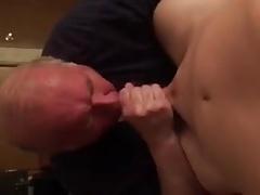 Old man sucks young hard cock
