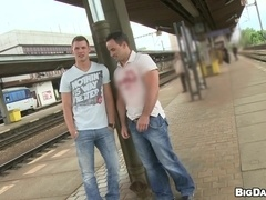 Andy and Mallev have ardent gay sex at a railway station