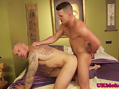 Tattooed hunk buttfucked by UK stud