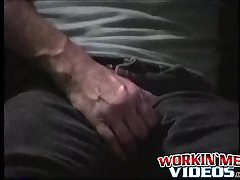 Hairy mature guy Henry working his cock and cooking a load