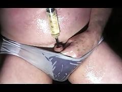 oiled gay man sounding urethral dildo toy nylon panties