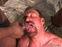 Horny bearded daddy Derek gets his ass slammed by black hunks