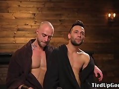 Flogged BDSM submissive sucking hunks dick