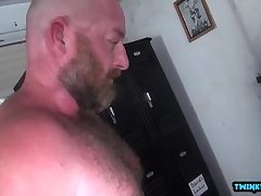 Hairy son anal rimming with cumshot
