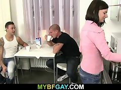 He jumps on gay cock after his gf leaves