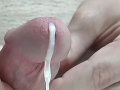 Close up ejaculation with slow motion.
