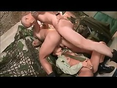 Brunette girl in al anal 3some with 2 hot soldiers