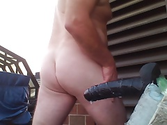 JoeyD outdoor anal new 9 inch Black Cock Moaning 1