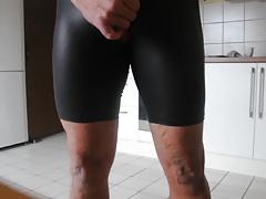 Cum over my new shiny Spandex Shorts