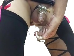 milking some sperm in chastity