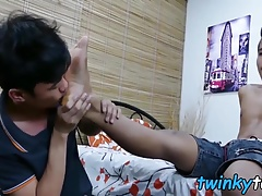 Skinny Asian foot fetish twinks drill each other assholes