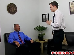 Damien and Parker have a steamy anal break in the office