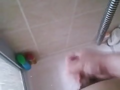 fat man cum in shower