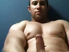 Amazing muscle dude cumming on phone call