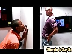 Straight guy gets sucked off through glory hole