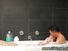 Sensual bubble bath for passionate hunks