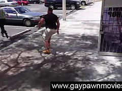 Amateur guy wants cash at gay pawn shop, on spycam