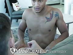 ManRoyale Ebony Kevin Blaise fucks Jack Hunter tight ass