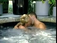 Blond fairy gets his ass fingered and fucked on the poolside