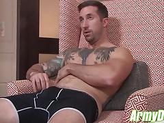 Hot tattooed hunk Brad Powers jerking his fat cock till cum