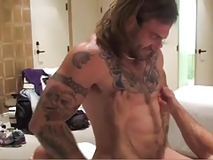 Hairy guys fuck bareback