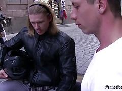Homo slut boy seduces hunky biker