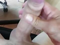 Stroking my big hard wet cock