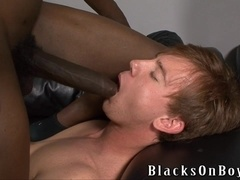Redhead gay Kyle Powers gets his mouth and ass fucked by black dude
