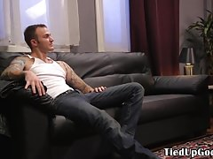 Inked bdsm submissive jerked and whipped