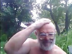 Naked Russian Daddy Outdoors
