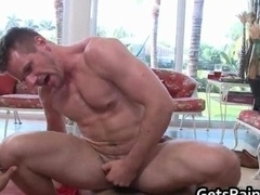 Muscled stud gets his tight butthole rammed