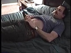 huge dick dad flops his cock around and wanks