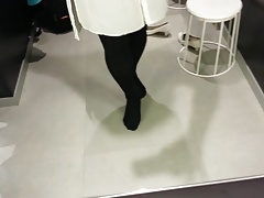 White Patent Pumps with Black Pantyhose Teaser 15
