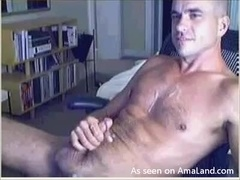 Webcam Hunk Cums on His Chest
